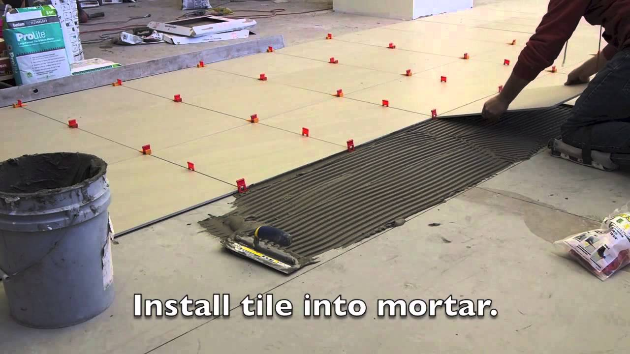 How to install tile floor with leveling system youtube doublecrazyfo Image collections