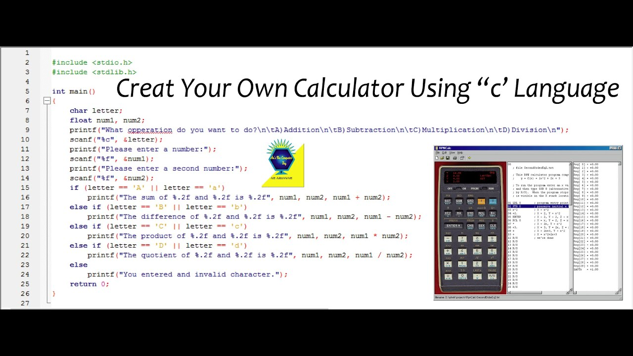 C programming tutorial create calculator in c language Compiler for c language