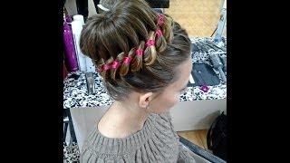 Прическа с плетением : Пучок с косой из 4-х прядей (коса с лентой). Braided hairstyle for long hair