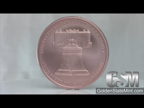 Golden State Mint - 1 oz Liberty Bell  MiniMintage Copper  bullion round/ Silver Shield