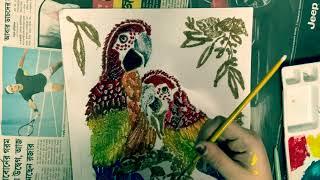 Sand art on paper , Artist Susmita Samanta