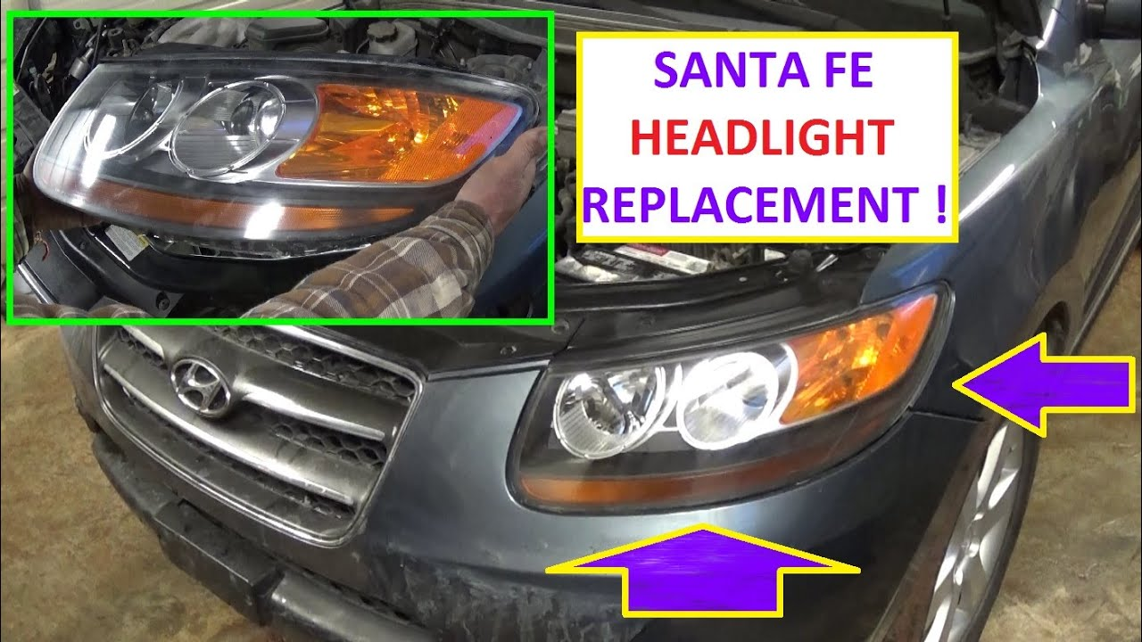 2008 hyundai santa fe wiring diagram 1976 bmw 2002 headlight removal and replacement on 2006 2007 2009 2010 2011 2012