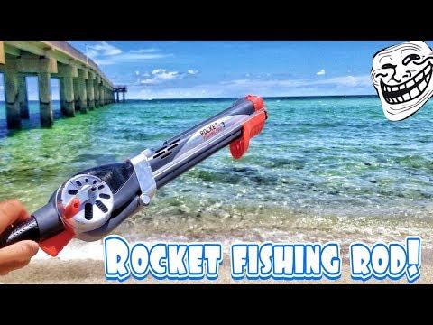 Rocket Fishing Rod Catches Fish In Ocean Challenge!?! Its Baaaack!
