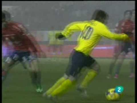 osasuna 2 vs 3 FC BARCELONA Golazo de MESSI 11/01/2009