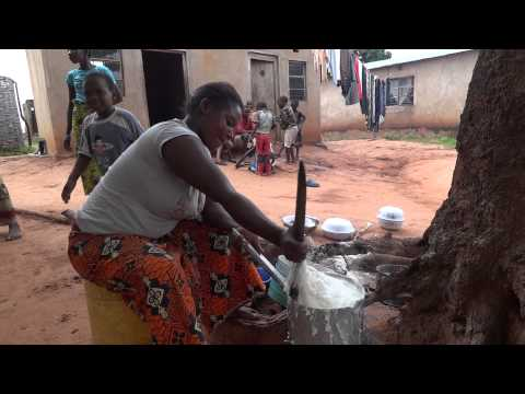 Zambia, mama is cooking African staple food, maize meal.