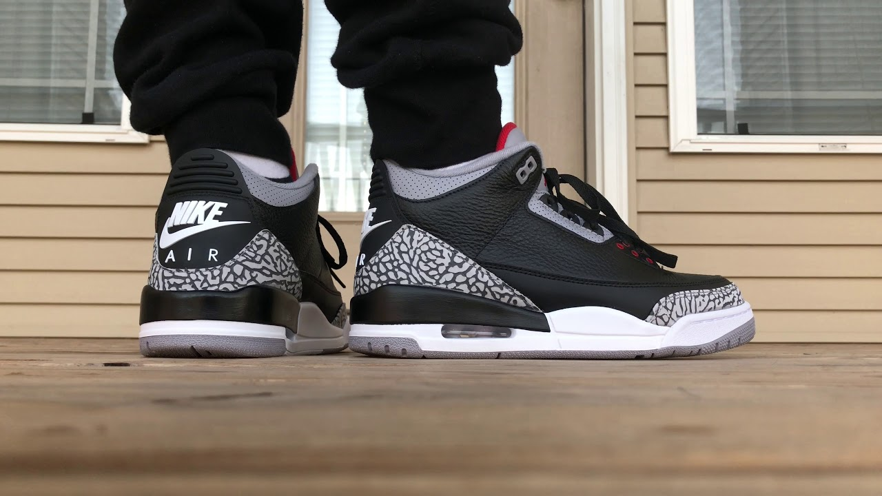 5dfaafe221d5 Jordan 3 Black Cement 3 2018 ON FOOT LOOK! - YouTube