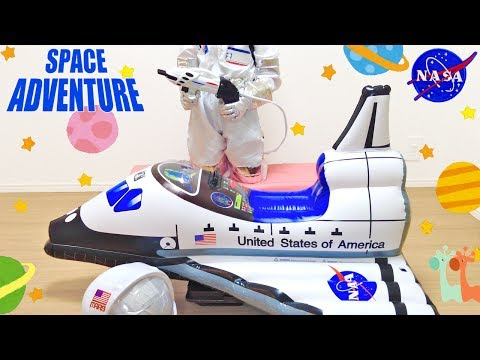 Spaceship Adventure Kids Toys ! Astronaut Suit and Inflatable Space Shuttle