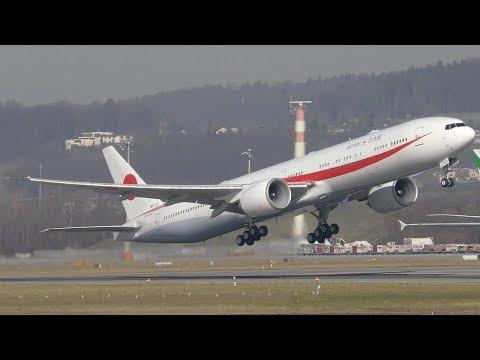 Japan Air Self Defense B777-3SBER [80-1112] Takeoff At Zurich Airport | 4K