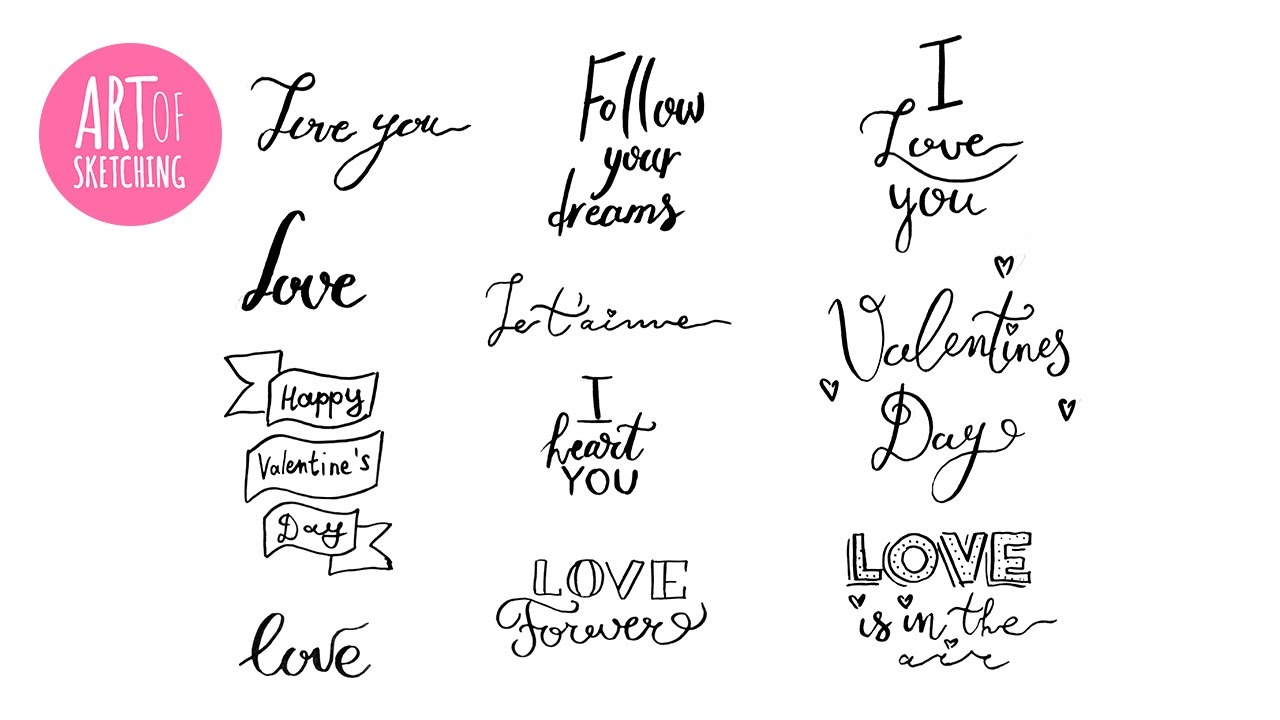 St Valentine S Day Hand Lettering Title Ideas With Pitt Artist Pen