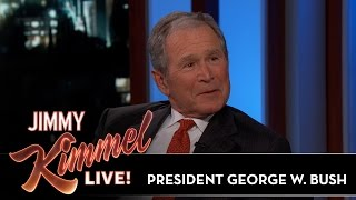Jimmy Kimmel & President George W. Bush Sketch Each Other