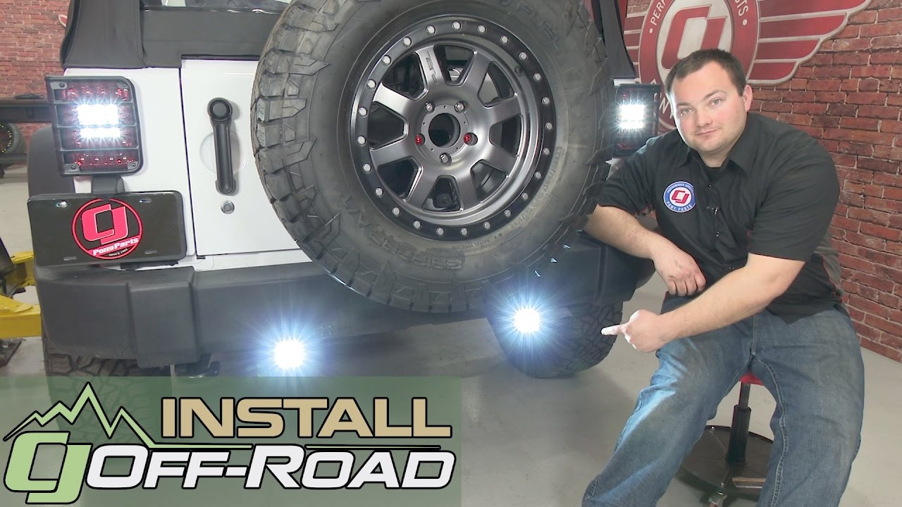 Jeep Wrangler JK KC HiLiTES LED Backup Light Kit CSeries Clear 20072018 Installation  YouTube