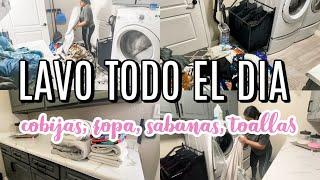 LAVANDO TODO EL DIA, lavo ropa, lavar sabanas, rutina de limpieza para lavar todo el dia en casa.