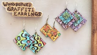 Woodburned Graffiti Earrings - How to Get Started Woodburning - Pyrography - Eps 98