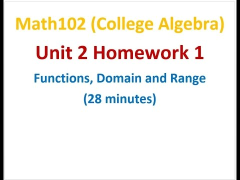 102U2H1 Functions: Domain and Range