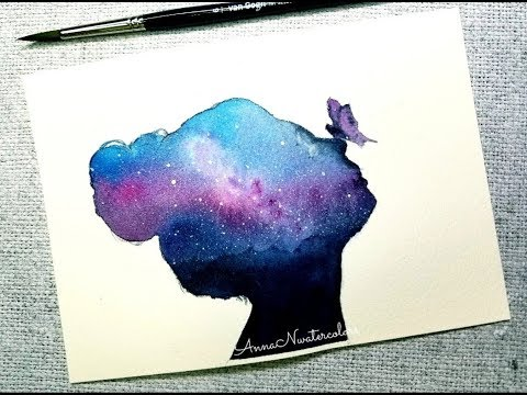 Abstract Painting Girl Head Galaxy Watercolor