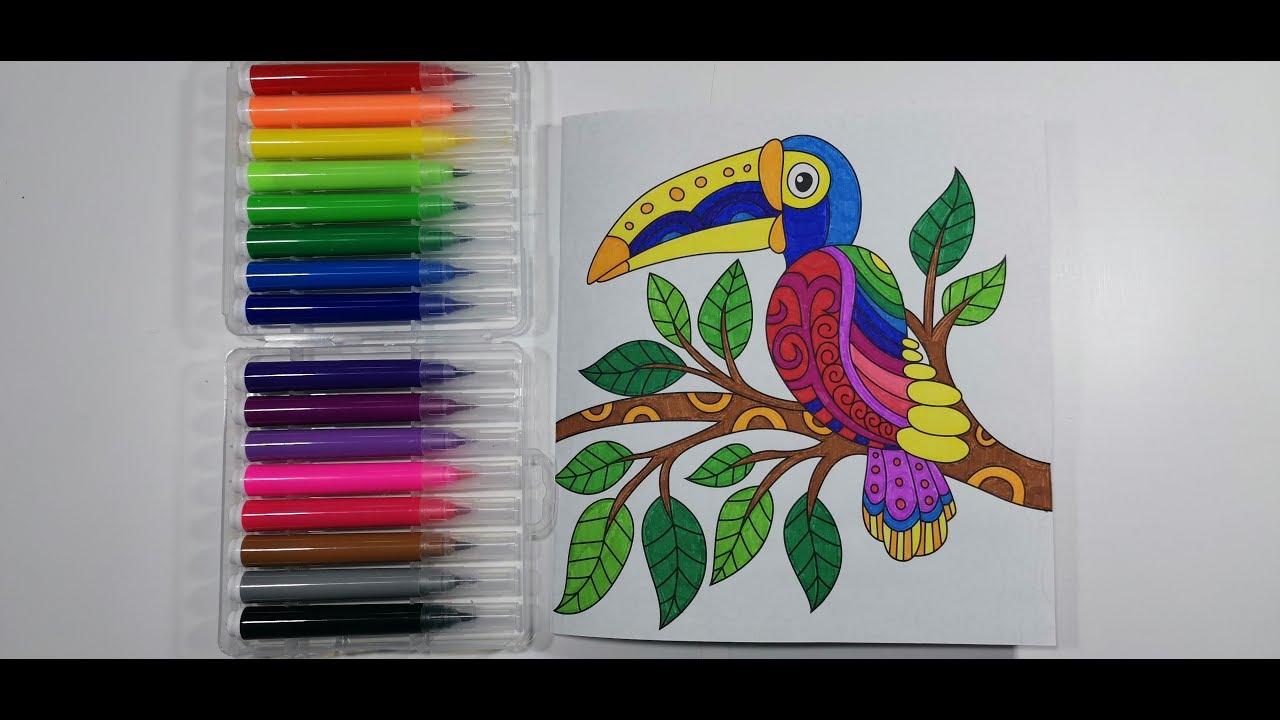 Раскрашиваем пеликана - Раскраска - антистресс #4 - YouTube
