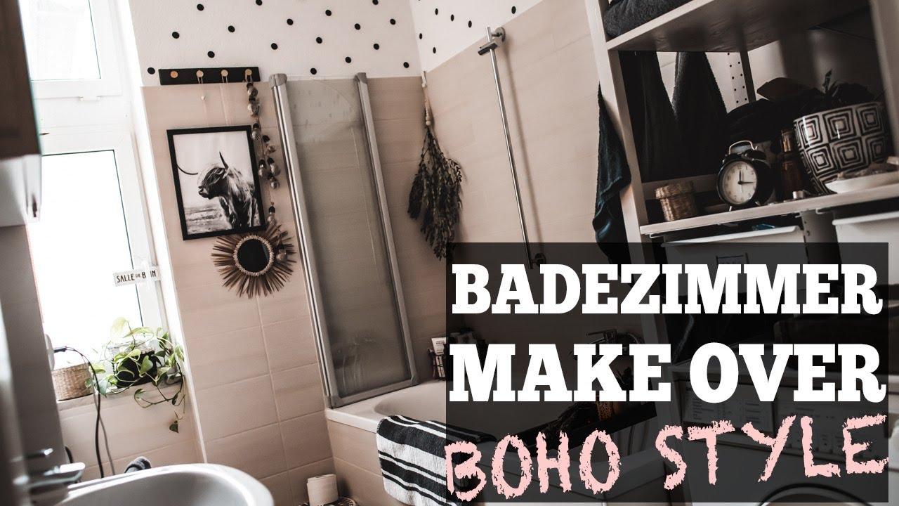 Kleines Badezimmer einrichten im Boho Style -- Badezimmer Makeover  Julies  Dresscode