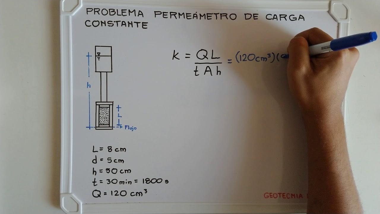1 Ejercicio De Permeabilidad Permeámetro De Carga Constante Youtube