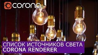 Список источников света для Corona Renderer |  | Уроки визуализации