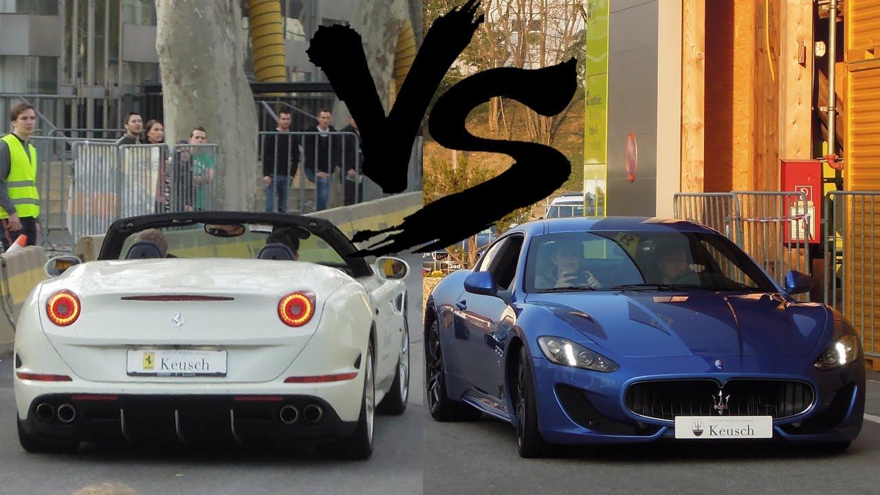 Ferrari California T Vs Maserati Gts Full Throttle Accelerations Youtube