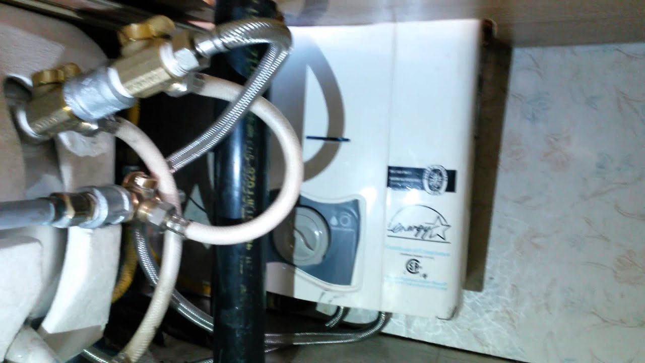 How to vent a hot water heater - Review Excel Propane Instant Hot Water Heater In An Rv Or Motorhome Vent Free Lp Under Sink Youtube