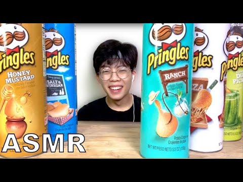 ASMR 5 FLAVORS PRINGLES (Honey Mustard, Pizza, Ranch, Pickle, Vinegar) CRUNCHY EATING SOUNDS MUKBANG