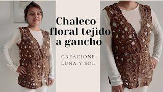 Chaleco floral tejido a gancho I Técnica Granny