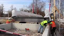 HUSNER Montage Holzbrücke Auen Renaturierung Rietheim Chly Rhy