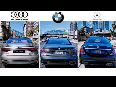GTA 6 - Photorealistic Graphics 2018| Audi A8 \u0026 BMW M760Li \u0026 Mercedes S65 AMG - GAMEPLAY | GTA V MOD