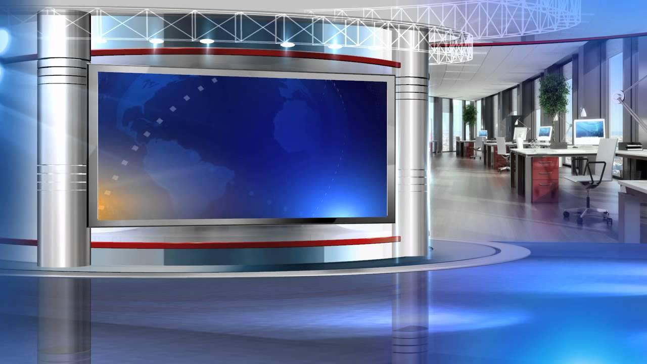 free virtual set vizrt news studio blue HD