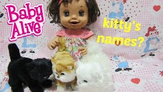 BABY ALIVE Learns to Potty Doll Katie reveals her 3 kitty's names!  Doll stop motion video!