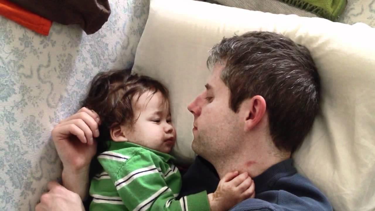 Baby Michael -- sleeping with daddy - YouTube