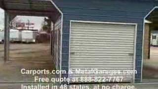 Custom Metal Carport With Shed In Middle