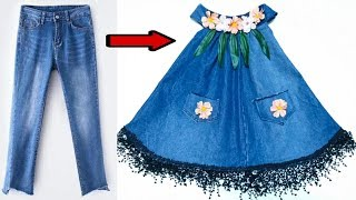 Stylish baby dress of old jeans