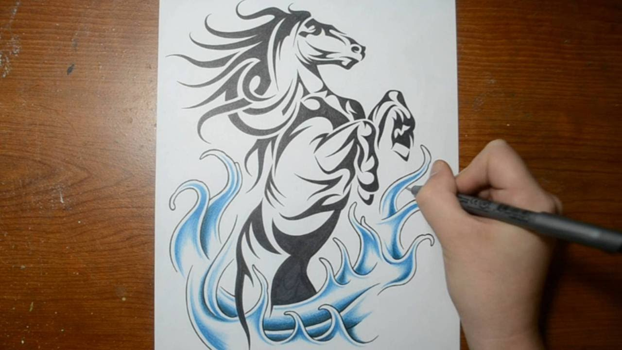 Drawing a Cool Rearing Horse - Tribal Tattoo Design Style - YouTube