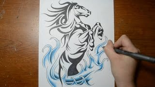 Drawing a Cool Rearing Horse - Tribal Tattoo Design Style