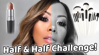 HALF & HALF MAKEUP CHALLENGE!! ft. NinasMakeup | Liane V