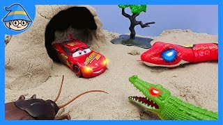Disney Lightning McQueen met an insect in a cave. Snake and spider toy.