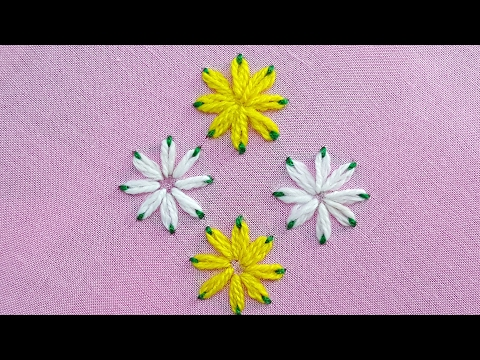 Lazy Daisy Double Colour Thread Flower Stitch|Hand Embroidery