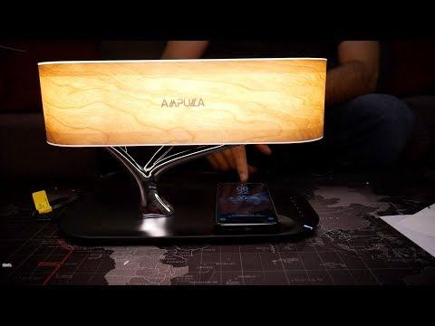 Ampulla Bedside bluetooth Lamp Tree with Qi charger