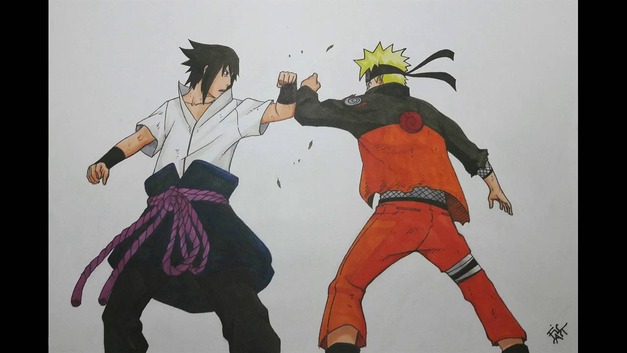Drawing naruto vs sasuke final battle