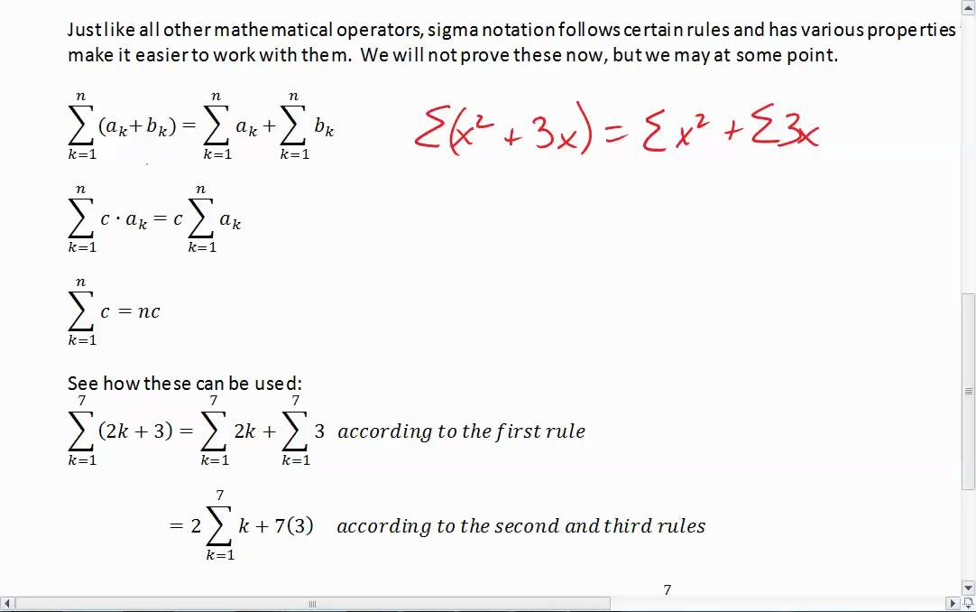 Sigma Notation Properties Youtube