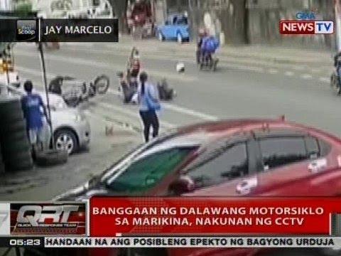 QRT: Banggaan ng 2 motorsiklo sa Marikina, nakunan ng CCTV