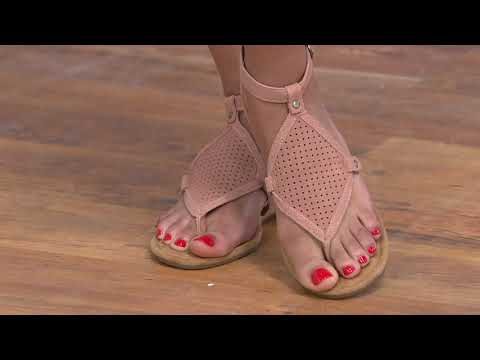 huge selection of 7ad8a b2bd4 Koolaburra Perforated Suede Demi-Wedges - Briona on QVC