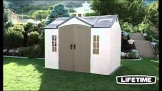 Lifetime 60005 8-by-10-foot Outdoor Storage Shed With Windows, Skylights, And Shelving - Buy