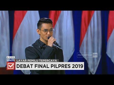 """Penampilan Afgan Pimpin Lagu """"Indonesia Raya"""" di Debat Capres-Cawapres 2019"""