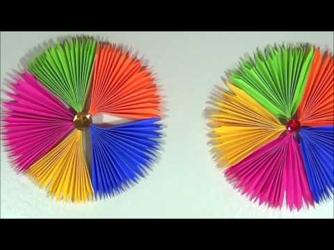 DIY Paper Craft: Paper Fan Backdrop Tutorial- Paper Rosettes - Pinwheel - Home/Party Decor