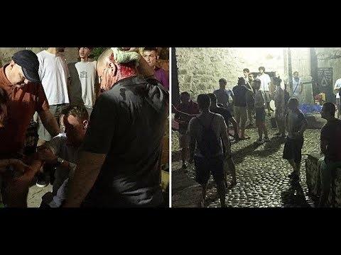 Aberdeen attacked by Velež Mostar hooligans 19.07.2017