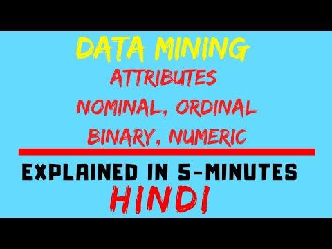 Attributes (Nominal, Ordinal, Binary, Numeric) [Data Mining](HINDI)