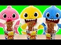 Baby sharks cooks Pororo Black Noodle Without Daddy Shark Knowing #PinkyPopTOY